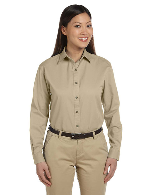 Devon & Jones D500W Women Long-Sleeve Titan Twill Khaki at bigntallapparel