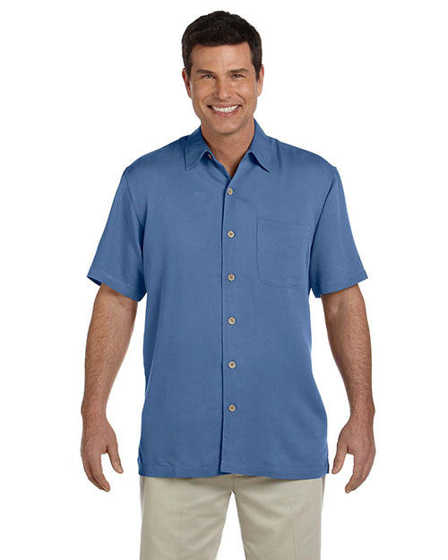 Devon & Jones D670 Men Isla Camp Shirt Lake Blue at bigntallapparel