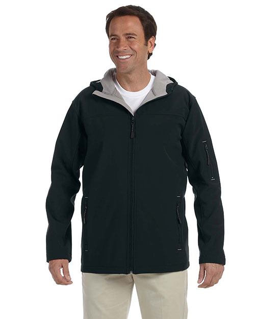 Devon & Jones D998 Men's Hooded Soft Shell Jacket BLACK at bigntallapparel