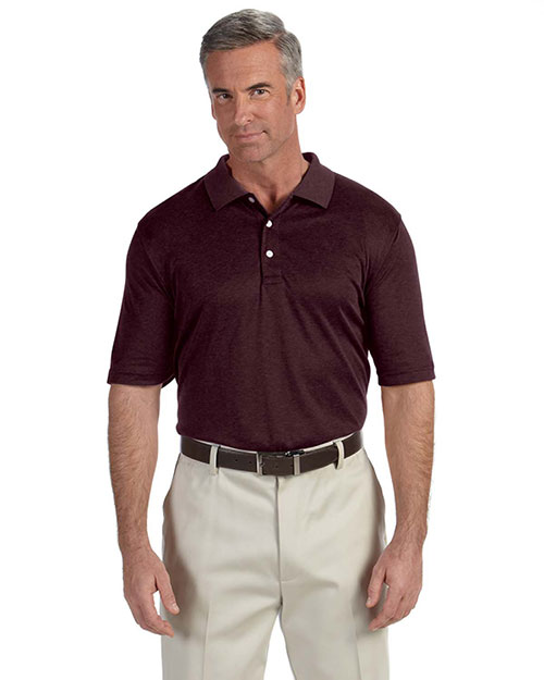 Devon & Jones DG210 Men's Pima-Tech™ Jet Piqué Heather Polo BURGUNDY HEATHER at bigntallapparel