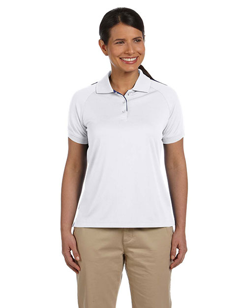 Devon & Jones DG375W Women Dri-Fast Advantage Colorblock Mesh Polo White/New Navy at bigntallapparel