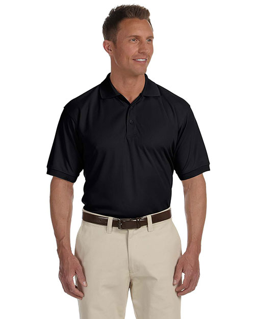 Devon & Jones DG385 Mens Dri Fast Advantage Solid Mesh Polo Black at bigntallapparel