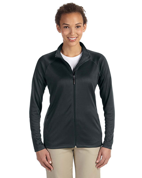 Devon & Jones DG420W Ladies' Stretch Tech-Shell™ Compass Full-Zip BLACK at bigntallapparel
