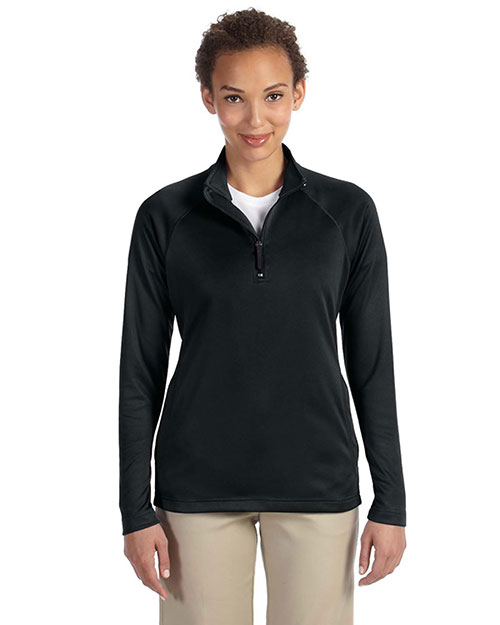 Devon & Jones DG440W Ladies' Stretch Tech-Shell™ Compass Quarter-Zip BLACK at bigntallapparel