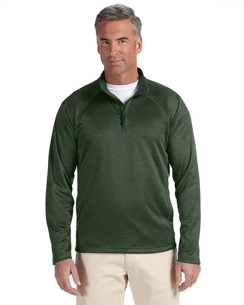 Devon & Jones DG440 Men's Stretch Tech-Shell™ Compass Quarter-Zip FOREST HEATHER at bigntallapparel