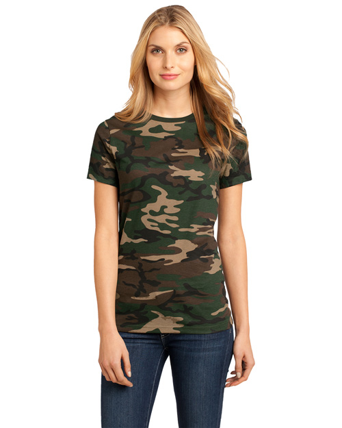 District Threads DM104CL Ladies Perfect Weight Camo Crew Tee  Military Camo at bigntallapparel