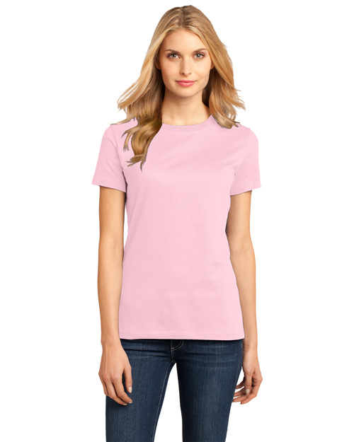 District Threads DM104L Ladies Perfect Weight Crew Tee.  Light Pink at bigntallapparel