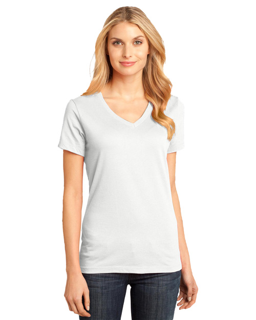 District Threads DM1170L Ladies Perfect Weight V-Neck Tee.  Bright White at bigntallapparel