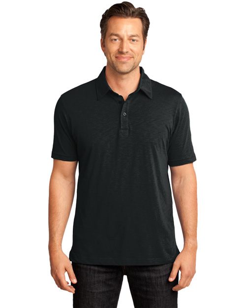 District Threads DM350 Mens Slub Polo.  Jet Black at bigntallapparel