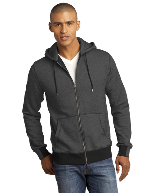 District Threads DM390 Men   Mini Stripe Full-Zip Hoodie Black/Charcoal at bigntallapparel