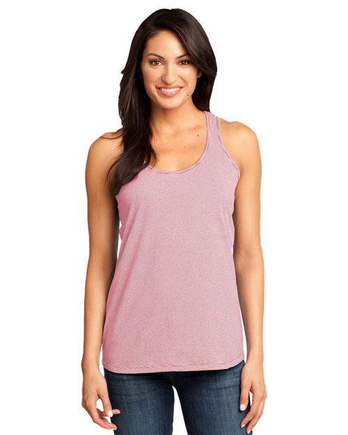 District Threads DM421 Ladies Mini Stripe Gathered Racerback Tank.  Coral at bigntallapparel