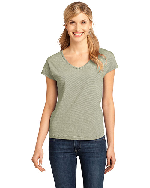 District Threads DM422 Ladies Mini Stripe Dolman V-Neck Tee.  Army at bigntallapparel
