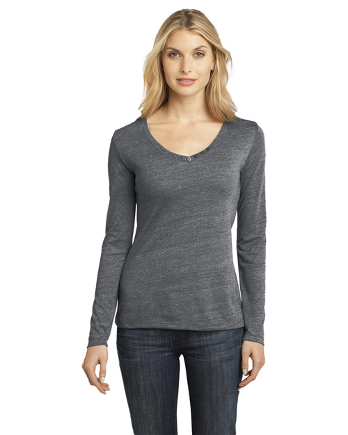 District Threads DM472 Ladies Textured Long Sleeve V-Neck with Button Detail.  Charcoal at bigntallapparel