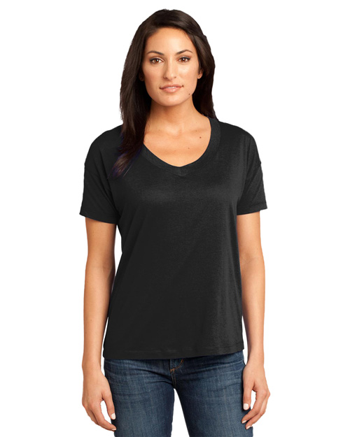 District Threads DM480 Ladies Modal Blend Relaxed V-Neck Tee.  Black at bigntallapparel