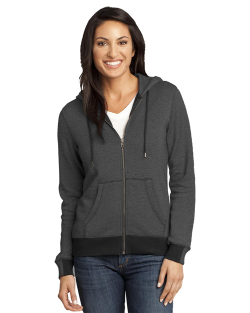 District Threads DM490 Women Menmini Stripe Full-Zip Hoodie Black/Charcoal at bigntallapparel