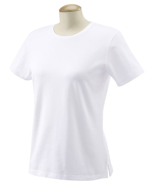 Devon & Jones DP155W Ladies' Stretch Jersey T-Shirt WHITE at bigntallapparel