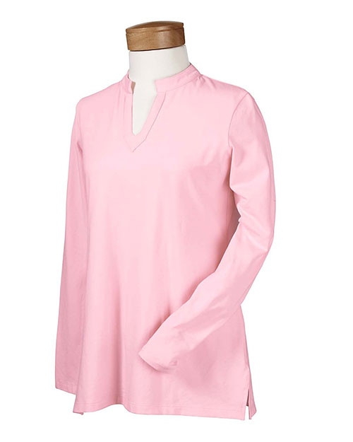 Devon & Jones DP165W Women Stretch Jersey Long-Sleeve Tunic Wild Geranium at bigntallapparel