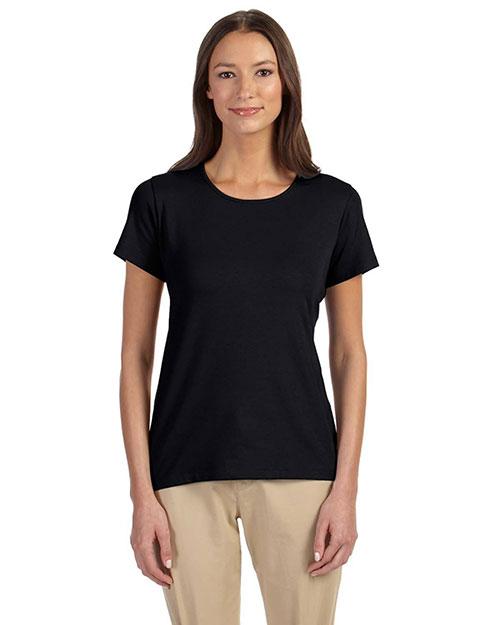 Devon & Jones DP182W Women Perfect Fit Shell T-Shirt Black at bigntallapparel