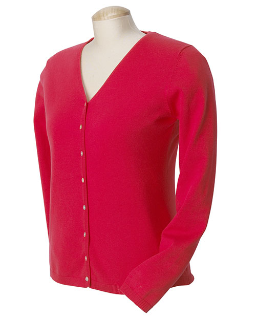Devon & Jones DP450W Women Stretch Everyday Cardigan Sweater Ruby at bigntallapparel