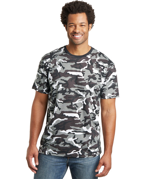 District Threads DT104C Men Camo Perfect Weight  Tee Winter Camo at bigntallapparel