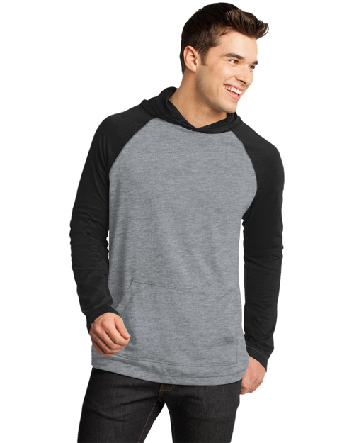 District Threads DT128 Men 50/50 Raglan Hoodie Blk/He Nickel at bigntallapparel