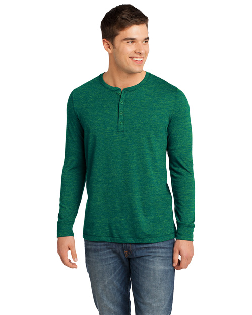 District Threads DT1401 District® Young Mens Gravel 50/50 Long Sleeve Henley Tee  Green Gravel at bigntallapparel