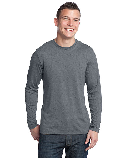 District Threads DT171 Men Textured Long Sleeve Tee Charcoal at bigntallapparel