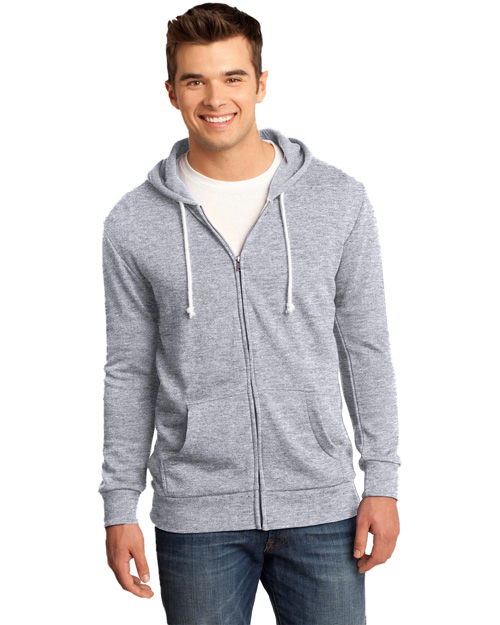 District Threads DT190 Young Mens Core Fleece Full-Zip Hoodie  Athletic Heather at bigntallapparel