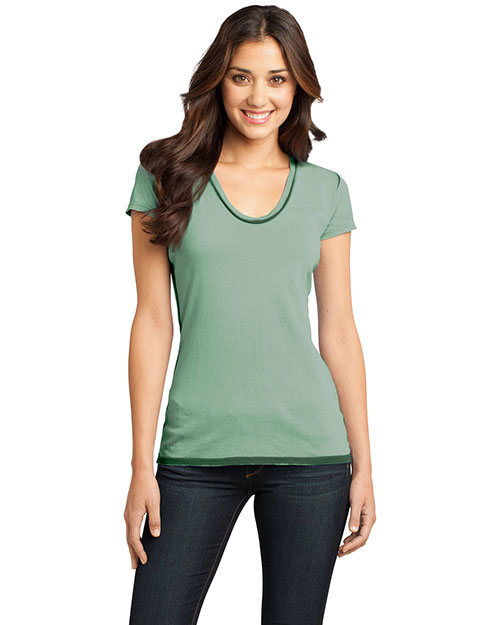 District Threads DT2202 District® Juniors Faded Rounded Deep V-Neck Tee Forest Green at bigntallapparel