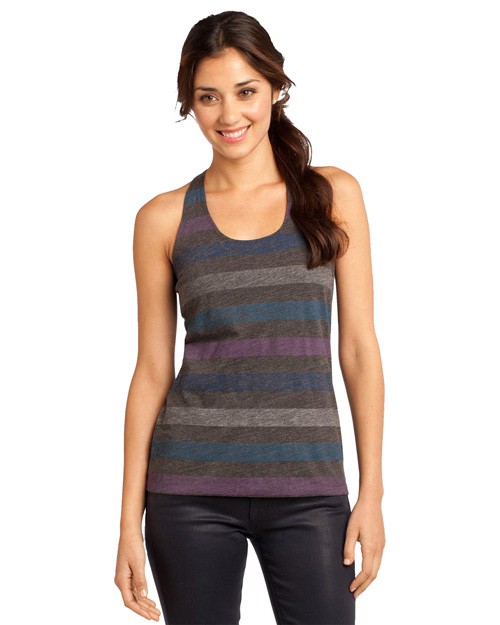 District Threads DT229 District® Juniors Reverse Striped Scrunched Back Tank  Winter Stripe at bigntallapparel