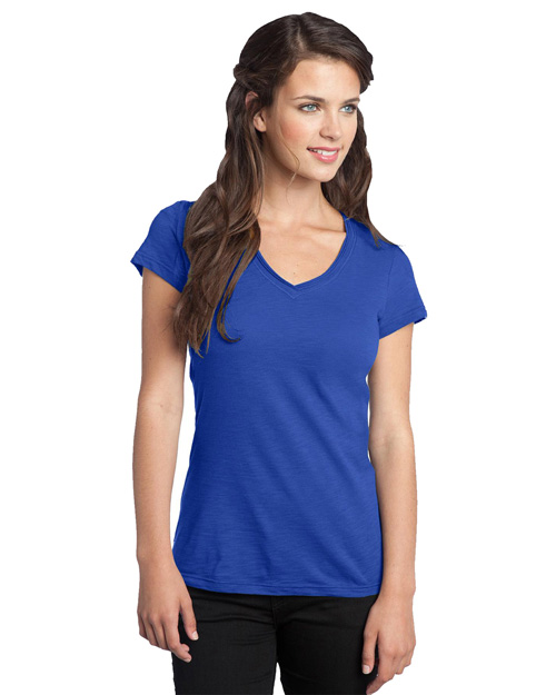 District Threads DT240 District® Juniors Slub V-Neck Tee Deep Royal at bigntallapparel