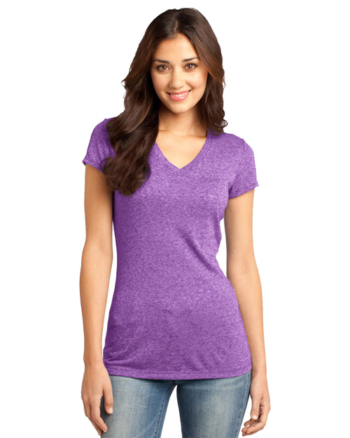 District Threads DT261 Women Microburn V-Neck Cap Sleeve Tee Purple Orchid at bigntallapparel