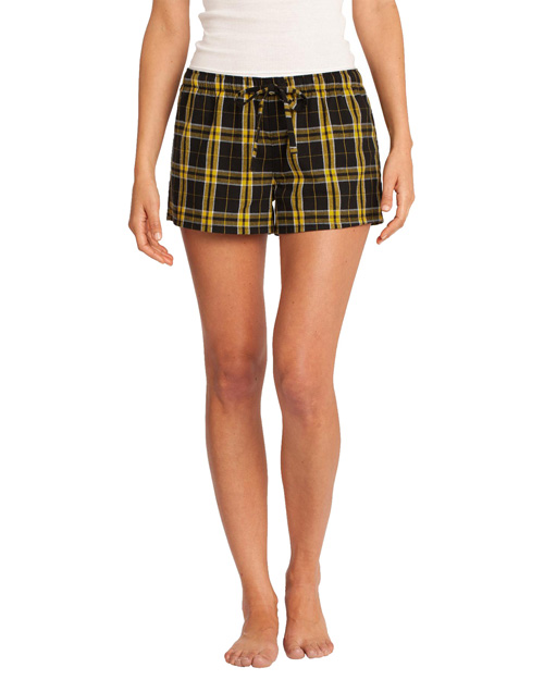 District Threads DT2801 Women Flannel Plaid Boxer Gold at bigntallapparel