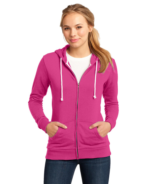 District Threads DT290 District® Juniors Core Fleece Full-Zip Hoodie Dark Fuchsia at bigntallapparel
