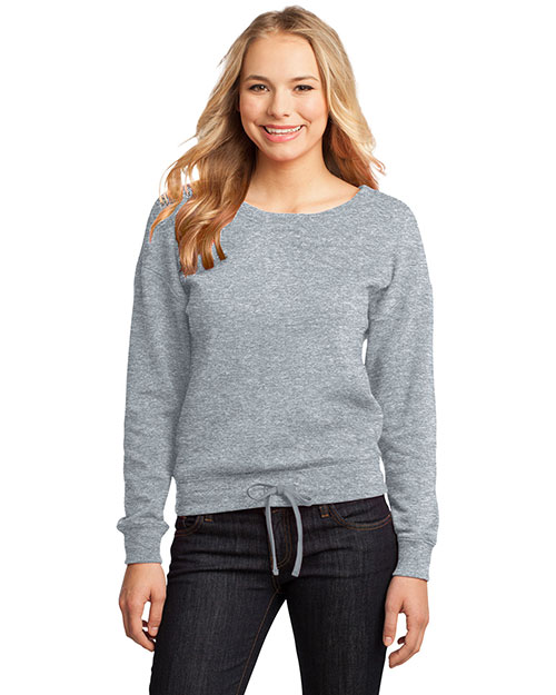 District Threads DT293 Women Core Fleece Wide Neck Pullover Athletic Hthr at bigntallapparel