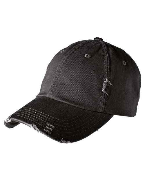 District Threads DT600 Mens Distressed Cap Black at bigntallapparel