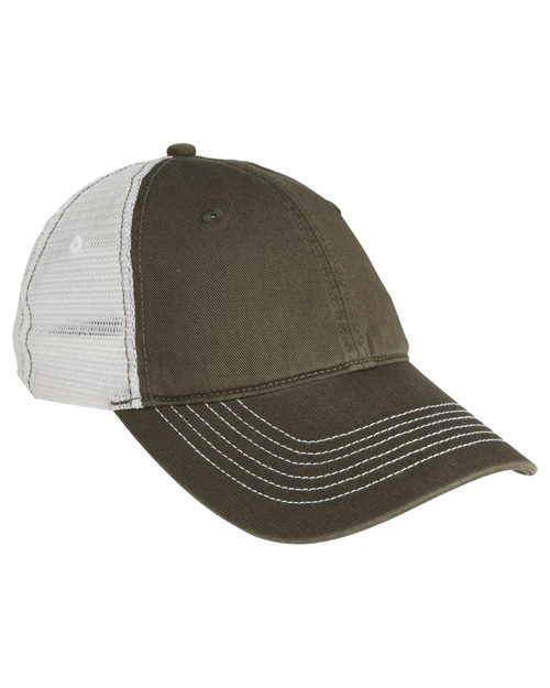 District Threads DT607  Mesh Back Cap Army/White at bigntallapparel