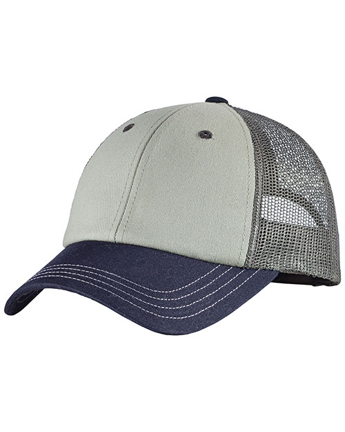 District Threads DT616 Tri-Tone Mesh Back Cap  Chrome/New Navy/Charcoal at bigntallapparel