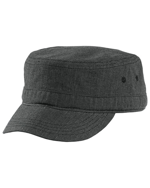 District Threads DT619 Houndstooth Military Hat  Black/Charcoal at bigntallapparel