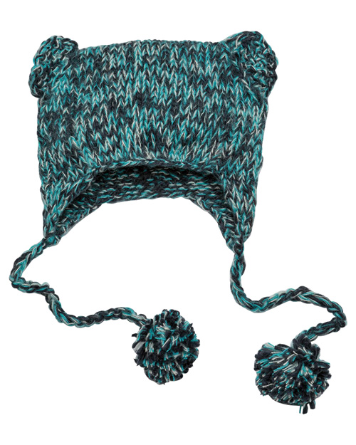 District Threads DT626  Hand-Knit Cat-Eared Beanie Navy at bigntallapparel