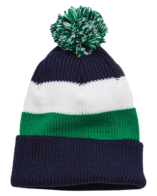 District Threads DT627  Vintage Striped Beanie With Removable Pom Navy Multi at bigntallapparel