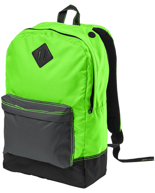 District Threads DT715  Retro Backpack Neon Green at bigntallapparel