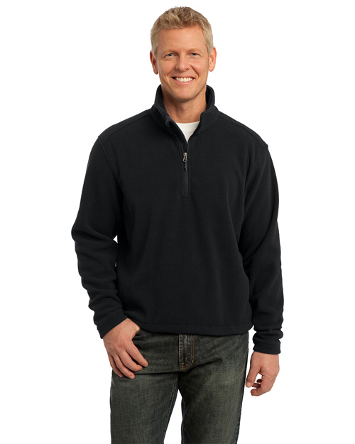 Port Authority F218 Value Fleece 1/4-Zip Pullover. Black at bigntallapparel