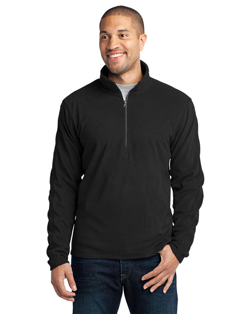 Port Authority F224 Microfleece 1/2-Zip Pullover. . Black at bigntallapparel