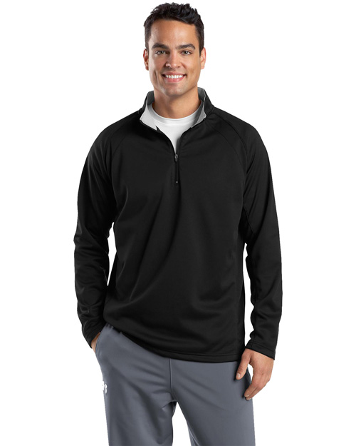Sport-Tek F243 Mens 1/4 Zip Sport Wick Fleece Black/Silver at bigntallapparel