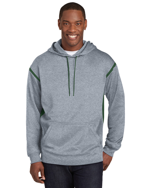 Sport-Tek F246 Mens Tech Fleece Hooded SweatShirt Grey Heather/Forest Green at bigntallapparel