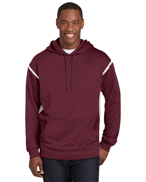 Sport-Tek TST246 Men Tall Tech Fleece Hooded Sweatshirt Maroon/White at bigntallapparel
