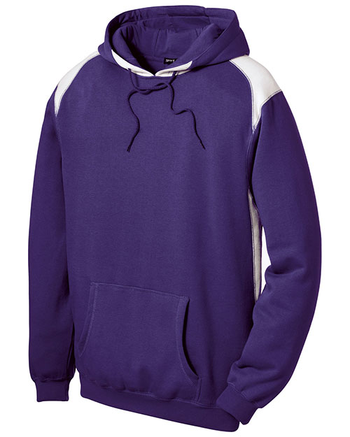 Sport-Tek F264 Men Pullover Hooded Sweatshirt With Contrast Color Purple at bigntallapparel