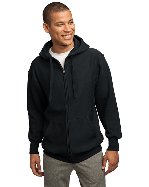 Sport-Tek F282 Mens Super Heavy Weight Pullover Full Zip Hoodie SweatShirt Black at bigntallapparel