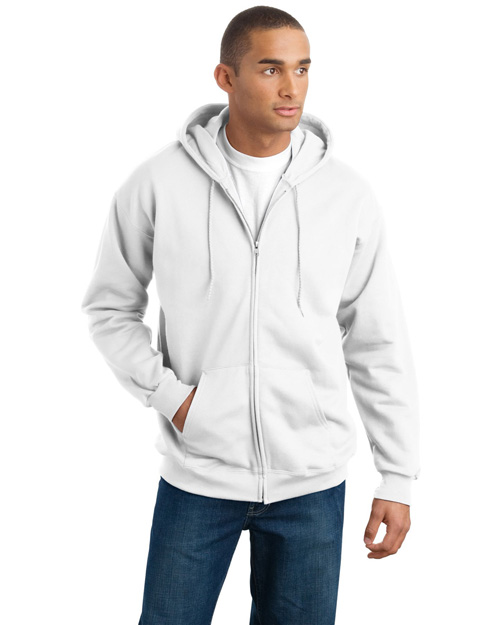 Hanes F283 Mens Ultimate Cotton Full Zip Hooded SweatShirt White at bigntallapparel